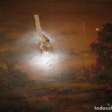 Varios objetos de Arte: ANTIGUO CUADRO PAISAJE ESTAMPA ANTIGUA EN LIENZO SIGLO XIX CON MARCO. Lote 82990848