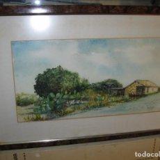 Varios objetos de Arte: PINTURA ALICANTINA ACUARELA ANTIGUA PAISAJE DE PACHECO FIRMADA Y DEDICADA. Lote 82996480