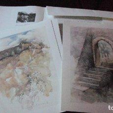 Varios objetos de Arte: CARPETA CON DIEZ REPRODUCCIONES DE ACUARELAS DEL CASTILLO DE ALCAUTIM EN PORTUGAL DE CARLOS LUZ. Lote 83324540