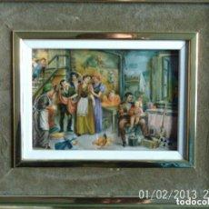 Varios objetos de Arte: ANTIGUO CUADRO ESCENA FAMILIAR - AÑOS 80. Lote 84716476