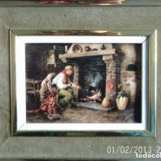Varios objetos de Arte: ANTIGUO CUADRO HOMBRE COCINANDO Y PERRO - AÑOS 80. Lote 84716564