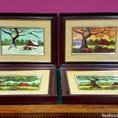 Varios objetos de Arte: LAS CUATRO ESTACIONES. CARTONES ESMALTADOS CON MARCO. FIRMADOS: M. L. LOZANO.. Lote 85583136