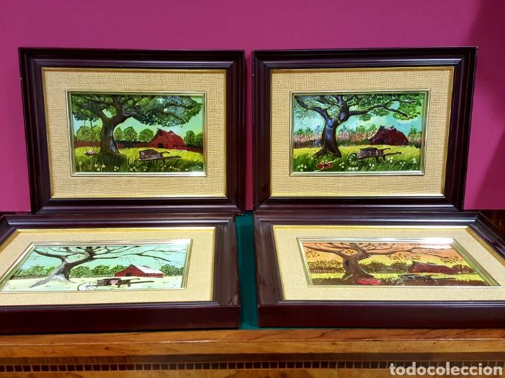 Varios objetos de Arte: Las Cuatro Estaciones. Cartones esmaltados con marco. Firmados: M. L. Lozano. - Foto 2 - 85583136