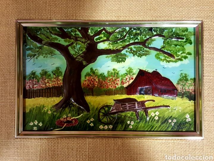 Varios objetos de Arte: Las Cuatro Estaciones. Cartones esmaltados con marco. Firmados: M. L. Lozano. - Foto 3 - 85583136