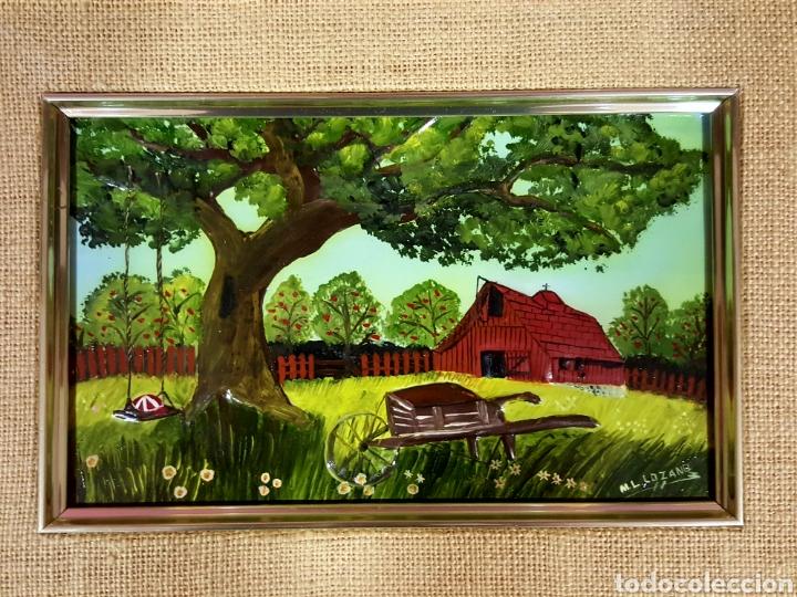 Varios objetos de Arte: Las Cuatro Estaciones. Cartones esmaltados con marco. Firmados: M. L. Lozano. - Foto 4 - 85583136