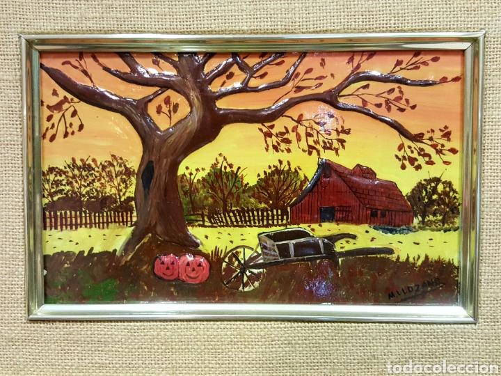Varios objetos de Arte: Las Cuatro Estaciones. Cartones esmaltados con marco. Firmados: M. L. Lozano. - Foto 5 - 85583136