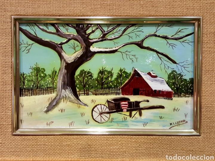 Varios objetos de Arte: Las Cuatro Estaciones. Cartones esmaltados con marco. Firmados: M. L. Lozano. - Foto 6 - 85583136