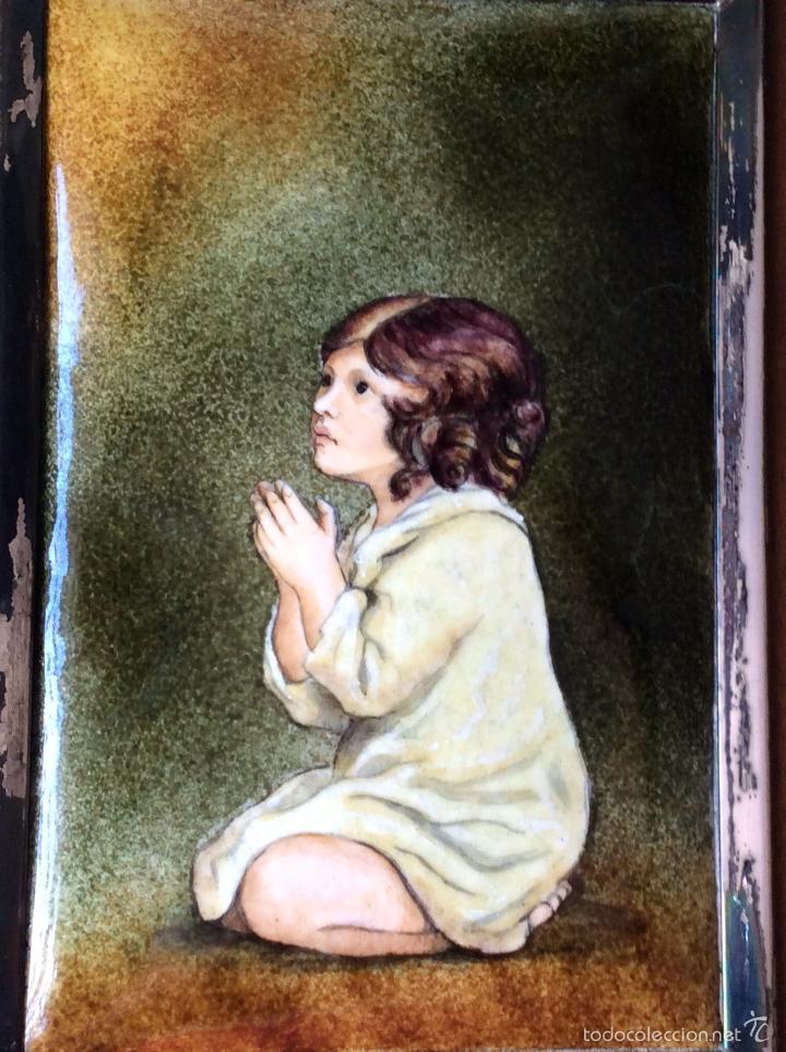 Varios objetos de Arte: ESMALTE AL FUEGO OBRA DE J. REYNOLDS, ANTIGUO MARCO MADERA Y PLATA - Foto 4 - 86252808