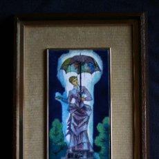 Varios objetos de Arte: MONTSERRAT MAINAR BENEDICTO (BARCELONA, 1928) PRECIOSO ESMALTE. DAMA DEL PARAGUAS. Lote 86264748
