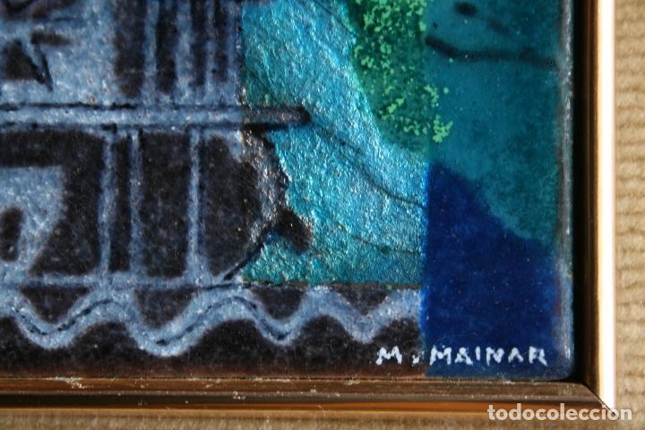 Varios objetos de Arte: MONTSERRAT MAINAR BENEDICTO (Barcelona, 1928) PRECIOSO ESMALTE. DAMA DEL PARAGUAS - Foto 5 - 86264748