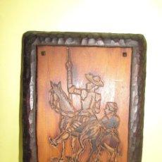 Varios objetos de Arte: DON QUIJOTE Y SANCHO PANZA - PIROGRABADO - ANTIGUO - TALLA MADERA. Lote 86295948
