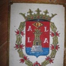 Varios objetos de Arte: BOCETO DE ANTIGUA PORTADA LIBRO ANTIGUA PINTURA EN TABLA OLEO ESCUDO DE ALICANTE 20 X 28 CMS. Lote 86469284