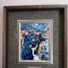 Varios objetos de Arte: CUADRO ESMALTE VIDRIADO AL FUEGO EN FINAS LÁMINAS PLATA. RENOIR MARCO ORIGINAL. CERTIFICADO REVERSO. Lote 86821804