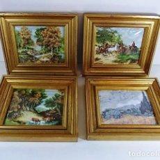 Varios objetos de Arte: LOTE DE 4 ANTIGUOS CUADROS ESMALTADOS SOBRE CHAPA . Lote 87255896