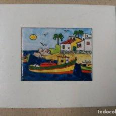 Varios objetos de Arte: ESMALTE CON MOTIVO MARITIMO FIRMADO CALICHE. Lote 89165792
