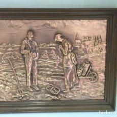 Varios objetos de Arte: CUADRO FRANCÉS DE COBRE DE 48X38CM FINALES DEL SIGLO XLX. Lote 90346208