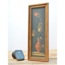 Varios objetos de Arte: CUADRO ANTIGUO ALARGADO CON MARCO DE MADERA DORADA Y MOTIVO DE FLORES. Lote 90470474