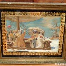 Varios objetos de Arte: COMPOSICIÓN BORDADA Y PINTADA SOBRE SEDA DEL SIGLO XIX.. Lote 90789285
