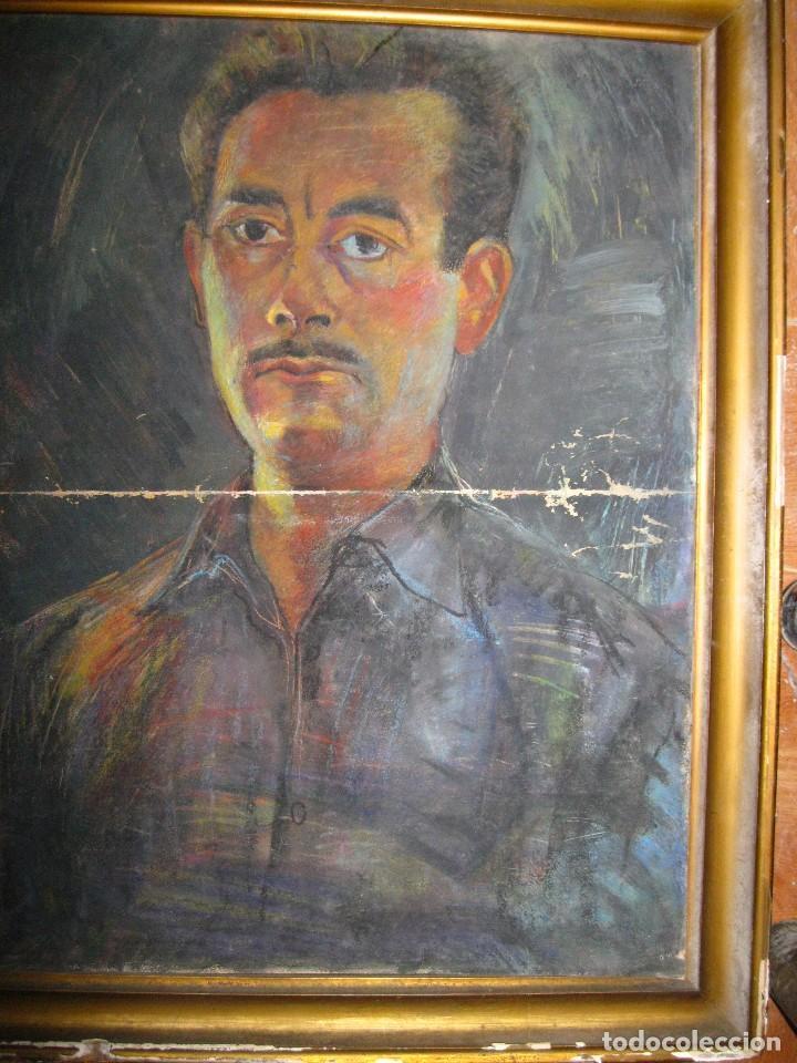 PINTURA ANTIGUA AL PASTEL AÑOS 40 RETRATO A TAMAÑO NATURAL PROCEDE DE ALICANTE (Arte - Varios Objetos de Arte)