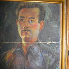 Varios objetos de Arte: PINTURA ANTIGUA AL PASTEL AÑOS 40 RETRATO A TAMAÑO NATURAL PROCEDE DE ALICANTE. Lote 90832370