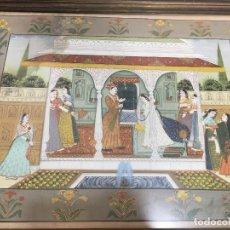 Varios objetos de Arte: ARTE ORIENTAL ESCENA DE COSTUMBRE EN SEDA PINTADA SOBRE ORLA FLORAL ENMARCADA. Lote 91082085