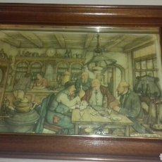 Varios objetos de Arte: CUADRO ORIGINAL ANTON PIECK 3D LOS JUGADORES DE CARTAS CON MARCO Y CRISTAL. Lote 91312645
