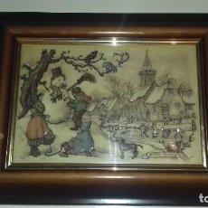 Varios objetos de Arte: CUADRO ORIGINAL ANTON PIECK 3D MUÑECO DE NIEVE CON MARCO Y CRISTAL. Lote 91313090