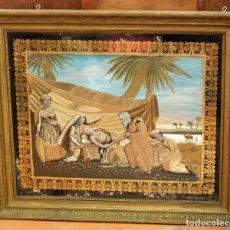 Varios objetos de Arte: COMPOSICIÓN BORDADA Y PINTADA SOBRE SEDA DEL SIGLO XIX. . Lote 91430335