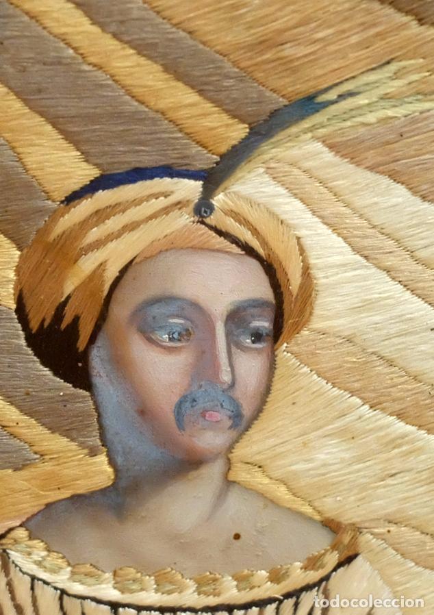 Varios objetos de Arte: COMPOSICIÓN BORDADA Y PINTADA SOBRE SEDA DEL SIGLO XIX. - Foto 4 - 91430335