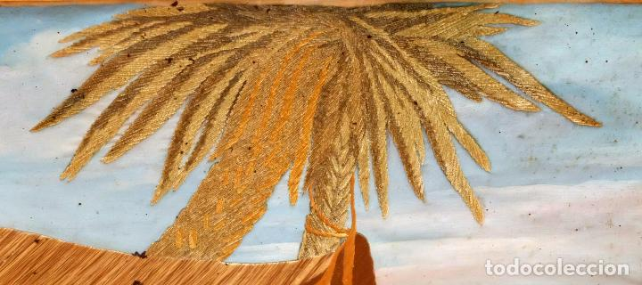 Varios objetos de Arte: COMPOSICIÓN BORDADA Y PINTADA SOBRE SEDA DEL SIGLO XIX. - Foto 13 - 91430335