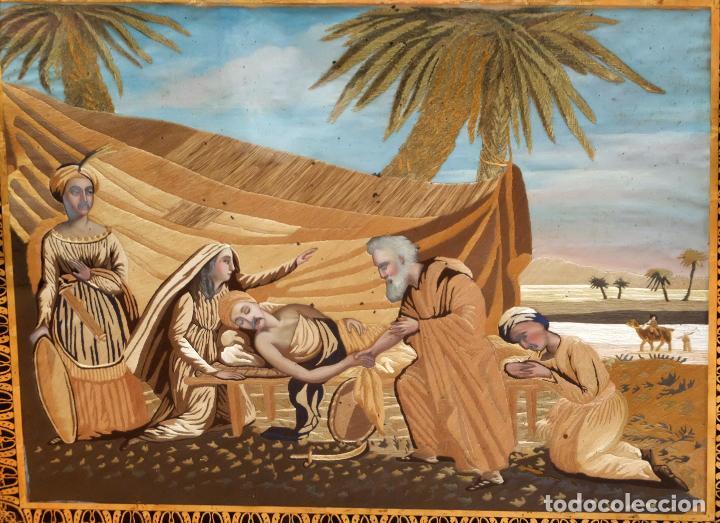 Varios objetos de Arte: COMPOSICIÓN BORDADA Y PINTADA SOBRE SEDA DEL SIGLO XIX. - Foto 14 - 91430335