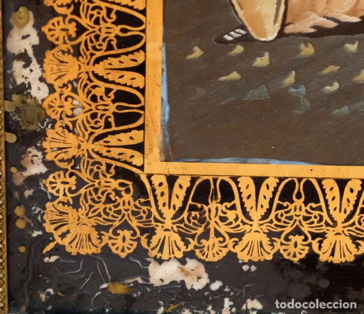 Varios objetos de Arte: COMPOSICIÓN BORDADA Y PINTADA SOBRE SEDA DEL SIGLO XIX. - Foto 15 - 91430335