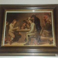 Varios objetos de Arte: CUADRO 3D JUGADORES DE CARTAS FIRMADO D. TENIERS. Lote 91509435