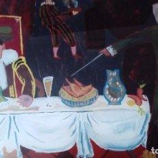 Varios objetos de Arte: PINTURA SOBRE CRISTAL ENMARCADA. PINTADA A MANO. FIRMADA CON DOS INICIALES. Lote 91934375