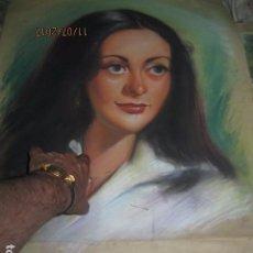 Varios objetos de Arte: ANTIGUO DIBUJO AL PASTEL SEÑORA TAMAÑO NATURAL MUCHA CALIDAD !!! 60 X 50 PROCEDE DE ALICANTE. Lote 92626910