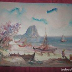 Varios objetos de Arte: ANTIGUA PINTURA ORIGINAL ACUARELA DE CALPE ALICANTE MARINA CON EL PEÑON DE IFACH. Lote 92775885