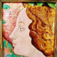 Varios objetos de Arte: PRECIOSO RETRATO DE UNA JÓVEN. ESMALTE SOBRE COBRE. FIRMADO JANINE. ENMARCADO. . Lote 93677005