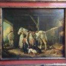 Varios objetos de Arte: PRECIOSA LÁMINA ANTIGUA ENMARCADA CACERÍA. Lote 93824990