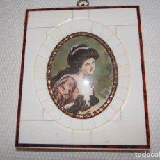 Varios objetos de Arte: MINIATURA PINTADA A MANO SOBRE ...... CON MARCO ORIGINAL.. Lote 94059110