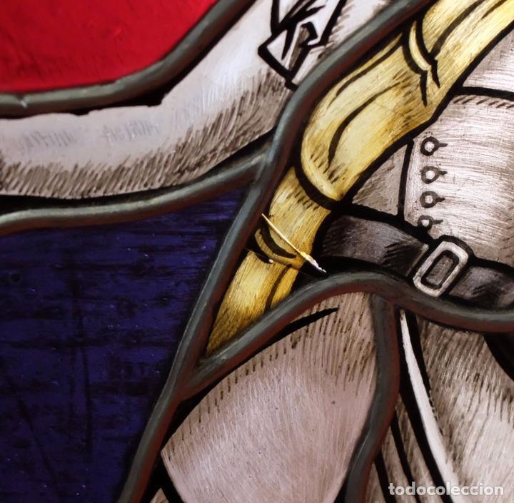 Varios objetos de Arte: PRECIOSO PLAFÓN DE CRISTALES DE COLORES EMPLOMADOS MANUFACTURA ALEMANA AÑO 1938 - Foto 8 - 28509003