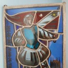 Varios objetos de Arte: ANTIGUO CUADRO DE CRISTAL PLOMADO EN COLORES CON MOTIVO DE ESTILO MEDIEVAL .. Lote 94458738