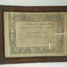 Varios objetos de Arte: DIPLOMA MEDICINA: DIPLOMA MEDICINA Y CIRUGIA 1917 - EUSEBIO VILA Y CATALA (ENMARCADO). Lote 82465711