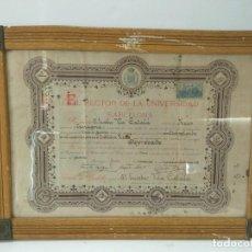 Varios objetos de Arte: DIPLOMA BACHILLER: DIPLOMA BACHILLER 1909, UNIVERSIDAD DE BARCELONA - EUSEBIO VILA Y CATALA (ENM.... Lote 94470183
