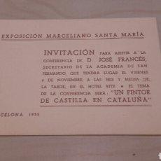 Varios objetos de Arte: CONFERENCIA SOBRE MARCELIANO SANTAMARÍA. TARJETA DE INVITACIÓN. BARCELONA 1935.. Lote 95012867