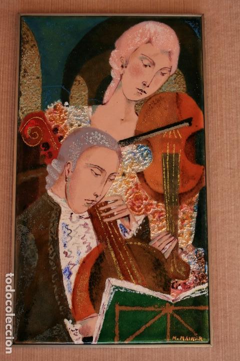 Varios objetos de Arte: MONTSERRAT MAINAR BENEDICTO (Barcelona, 1928) BONITO ESMALTE. MÚSICOS - Foto 2 - 95342695