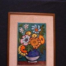 Varios objetos de Arte: MONTSERRAT MAINAR BENEDICTO (BARCELONA, 1928) ESTUPENDO ESMALTE , REPRESENTACION FLORAL. Lote 95402159