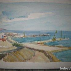Varios objetos de Arte: ANTIGUA ACUARELA ESCUELA VALENCIANA CON UN SELLO DE FIRMA ILEGILE. Lote 95468675