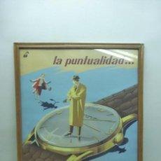 Varios objetos de Arte: ANTIGUO Y ORIGINAL CARTEL PUBLICITARIO DE RELOJES LENNO. FIRMADO POR DOMINIQUE. AÑOS 50. A MANO. Lote 95555599