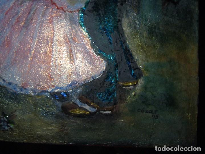 Varios objetos de Arte: PINTURA ANTIGUA OBRA EN COBRE Y PORCELANA ORIGINAL DEL PINTOR COZAR - Foto 3 - 96413159