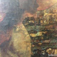 Varios objetos de Arte: COLLAGE TECNICA MIXTA CERAS BARNIZ PAPEL RASGADO MUJER CON SOMBRERO SIN FIRMA APARENTE AÑOS 80 54X74. Lote 97618927